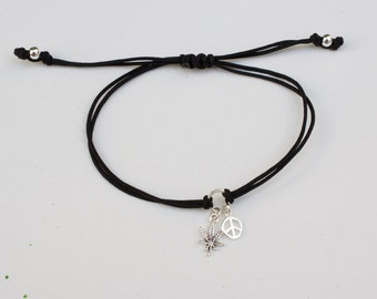 Peace and weed bracelet - adjustable marijuana bracelet  -  pot cord bracelet - leaf bracelet- rose gold - gold - silver