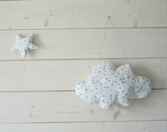 Large white cloud hanging, cushion with stars, 44 x 29 cm, cotton, kids baby room Decoration