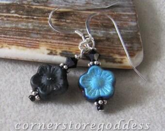 Itty Bitty Black Flower Earrings