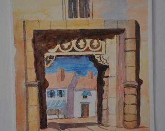 English Vintage Watercolor Country Village Painting, British Doorway Gate, Town Countryside, English Houses Bridge, Church Original UK Art