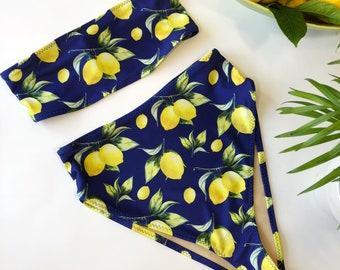 Womens lemon print Bandeau high waist swimsuit high leg 90's style