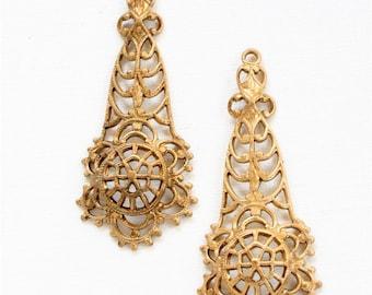 4 pcs FILIGREE domed jewelry drops . brass charms . 44mm x 18mm (ST100)