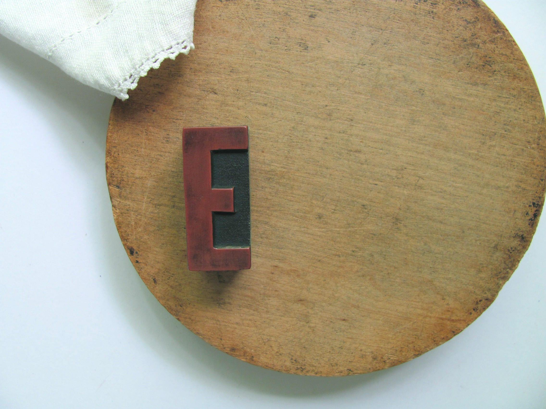 Vintage Letterpress Letter E Red Printer Block E Capital Alphabet