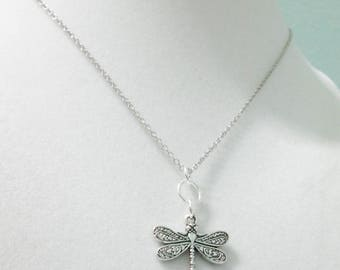 Dragonfly Necklace, Pretty Dragonfly Pendant, Dragonfly Charm Necklace, Bug Jewelry, Insect Necklace, Simple Necklace, Everyday Necklace
