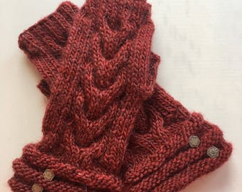 Morning Dew Fingerless Gloves - Red Heather