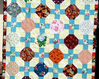 Floral Snowball Quilt, Throw, Wall Hanging, Handmade