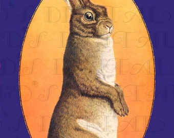 Tall Brown Startled BUNNY. Digital Bunny Rabbit Vintage Illustration.  Digital Rabbit Download. Digital Vintage Animal  Print.