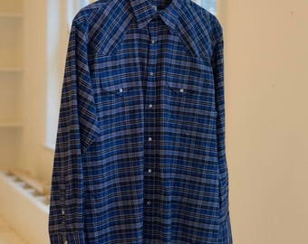 Ely Cattleman Plaid Blue and White Western Shirt