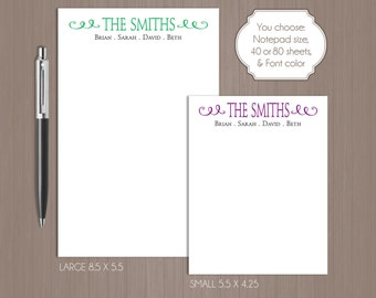 Family Notepad . Personalized Note Pad . Note Pad .  Large Notepad . Small Notepad . Boutique . Custom Notepad . Last Name . Custom