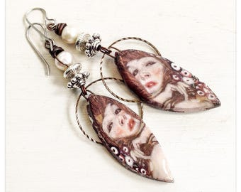 Moment - Klimt earrings - ceramic decal earrings - art earrings - scorched Earth