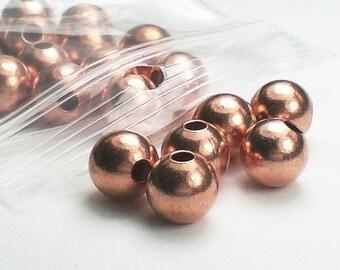 8mm Genuine Copper Large Hole Beads Round 20 pcs. GC-144