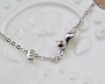 personalized initial cat bracelet delicate silver monogram bracelet  personalize jewelry