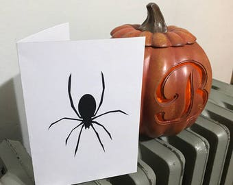 Halloween Spider - White and Black - Happy Halloween or Blank