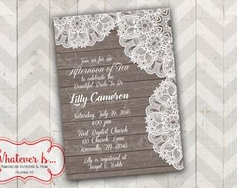 Rustic Bridal Shower Printable Invitation