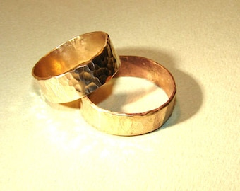 Bronze hammered ring set