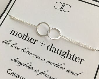 Sterling Silver Entwined Rings Eternity Bracelet....Mother, Daughter, Mother of the Bride