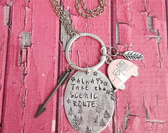 Wanderlust Necklace, Travel Necklace, Wanderlust Jewelry, Camper Necklace, Happy Camper, Gypsy Necklace, Camper Jewelry, Gift For Traveler