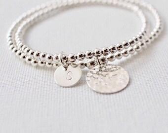 Hand stamped initial bracelet, handstamped jewelry, Initial bracelet, Personalized initial bracelet, Mother bracelet, Friend Gift