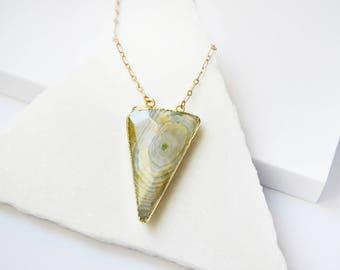 Arrow Necklace, Arrowhead Necklace, Gemstone Necklace, Triangle Necklace, Long Necklace, Statement Necklace, Bohemian Jewelry, Boho Necklace