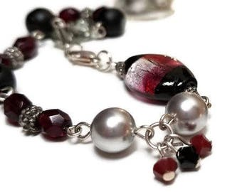 Asymmetric Red, Gray, and Black Beaded Bracelet with Lampwork Bead and Lobster clasp