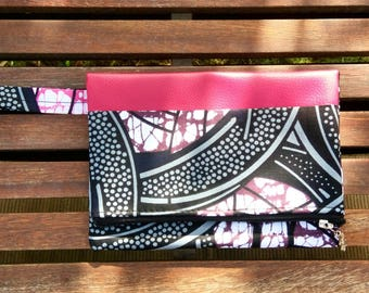 """Evening clutch colorful """"Granada"""". Faux leather and wax. Fashion Pink"""