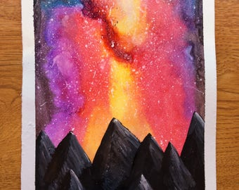 Watercolor Mountain Sunset