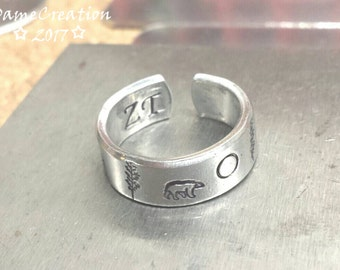 Polar Bear Ring, Polar Bear Jewlery, Custom Rings, Engraved Rings, Forest Ring, Animal Ring, Personalized Rings, Nature Jewelry