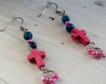 Pink Cross Earrings, Christian Jewelry, Jewelry For Girls, First Communion Gift, Hot Pink Beads, , Earrings Jewelry