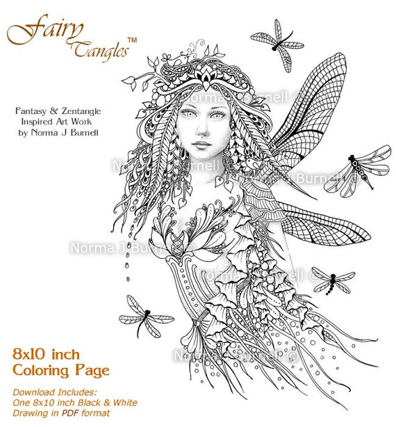 Dragonflies Fairy Fairy Tangles Grayscale Printable