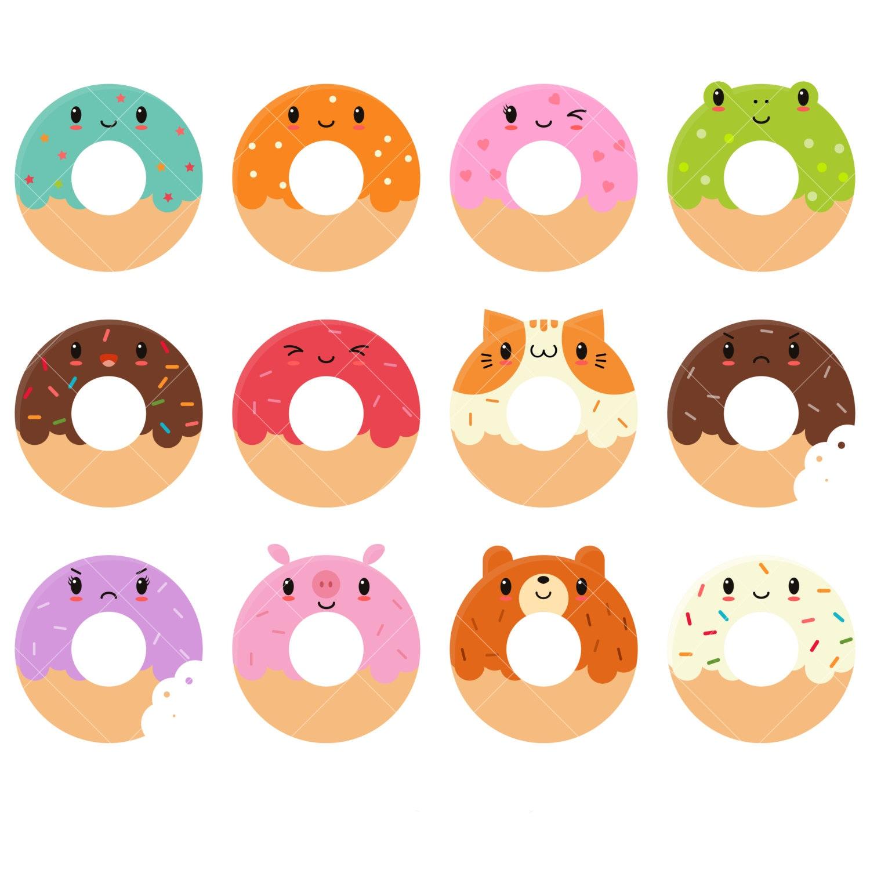 kawaii donuts clipart cute donut clipart doughnuts clip rh etsy com doughnut clipart black and white donut clip art free