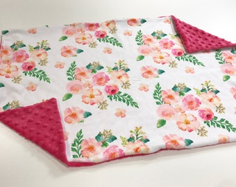 Pink Watercolour Floral Baby Blanket Lovey, Baby Girl Minky Lovey, Coral Flowers Baby Blanket, Ready to Ship, Baby Shower Gift
