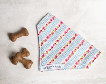 Blue and pink floral dog bandana - Dog scarf - Girl dog bandana - Boy dog bandana - Puppy bandana - Dog necktie - Bandana - puppy gift