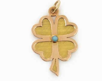 Yellow Gold and Turquoise Shamrock Charm