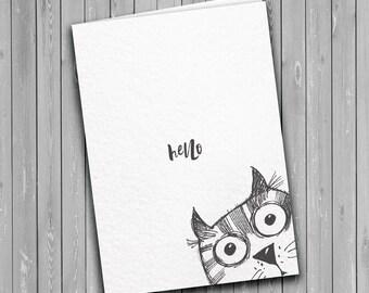 Hello cat card, friend card