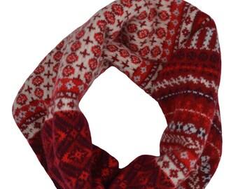 Fair isle snood cowl scarf. neck warmer. Red