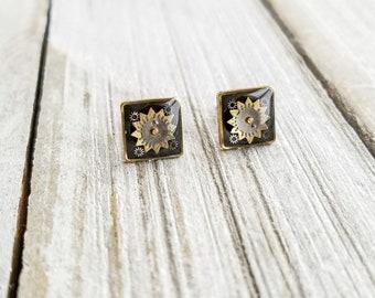Clockwork Stud Earrings, Steampunk Earrings, Geometric Stud Earrings, Mandala Earrings, Mixed Metal Earrings, Upcycled Earrings