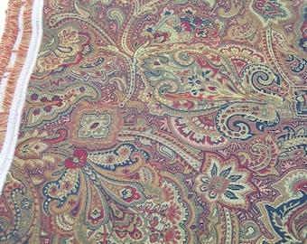 Woven Paisley Fabric, Burgundy, Black, Gold, 3 Yards, Upholstery Fabric