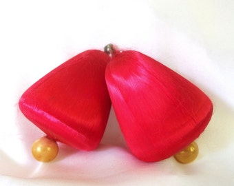 2 Vintage Red Satin Christmas Holiday Bell Ornaments