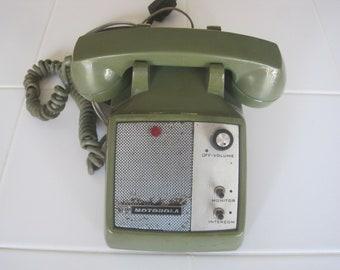 Vintage Motorola Intercom Monitor Green Desktop Phone