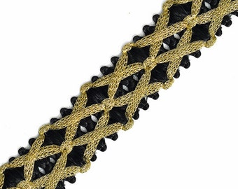 25mm Metallic GOLD Thread Braid Trim by 1-Yard, STEP-4772