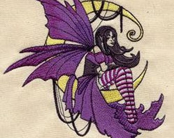 messenger bag - Embroidered canvas messenger / field bag - fairy on moon