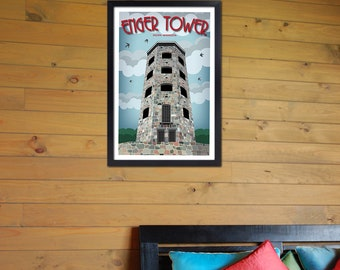 Vintage Inspired Travel Poster Enger Tower in  Duluth, MN