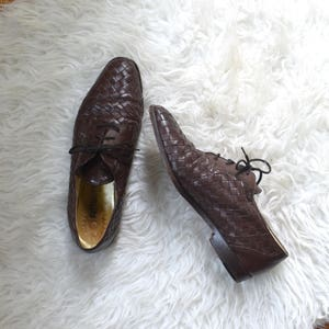 Bottega Veneta Intrecciato Oxfords/ Designer Lace Up Shoes/ Basketweave Flats/ Womens Size 8 8.5