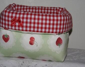 Fabric basket Organizer padded strawberries and cherries
