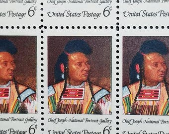 American Indian Chief Joseph National Portrait Gallery 50 6 Six Cent United States Postage Mint Sheet Stamps 1968