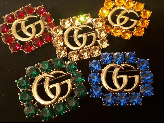 Gorgeous Crystal Embellished Decorative Metal Double G Pin Brooch by Etsy
