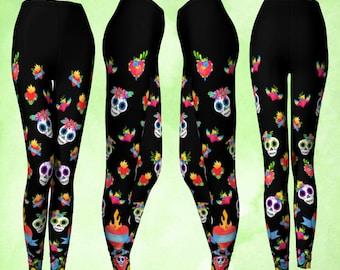 Leggings, Colorful leggings, Day of the Dead, Sugar skull, Skull leggings, Sacred heart, Heart leggings, Muertos art, Goth leggings, Corazon