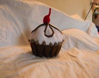 Sweet Cup Cake Knitted Hat with a Cherry on Top