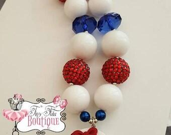 BASEBALL/SOFTBALL Chunky Necklace- Chunky bubblegum necklace, Girls chunky necklace, Gumball necklace, Chunky beaded necklace