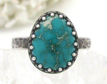 Fox Turquoise Ring - silver turquoise ring - size 8.75 - sterling turquoise ring - natural American turquoise ring - size 8 3/4